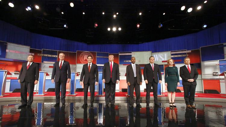 Republican presidential hopefuls, shown in November, return Tuesday night to the debate stage. (Jeffrey Phelps / Associated Press)