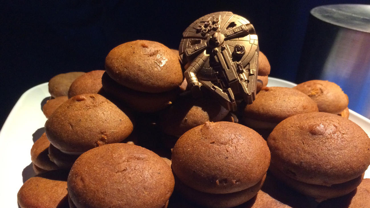 For the fan who has everything, Millennium Falcon macarons. (Meredith Woerner / Los Angeles Times)