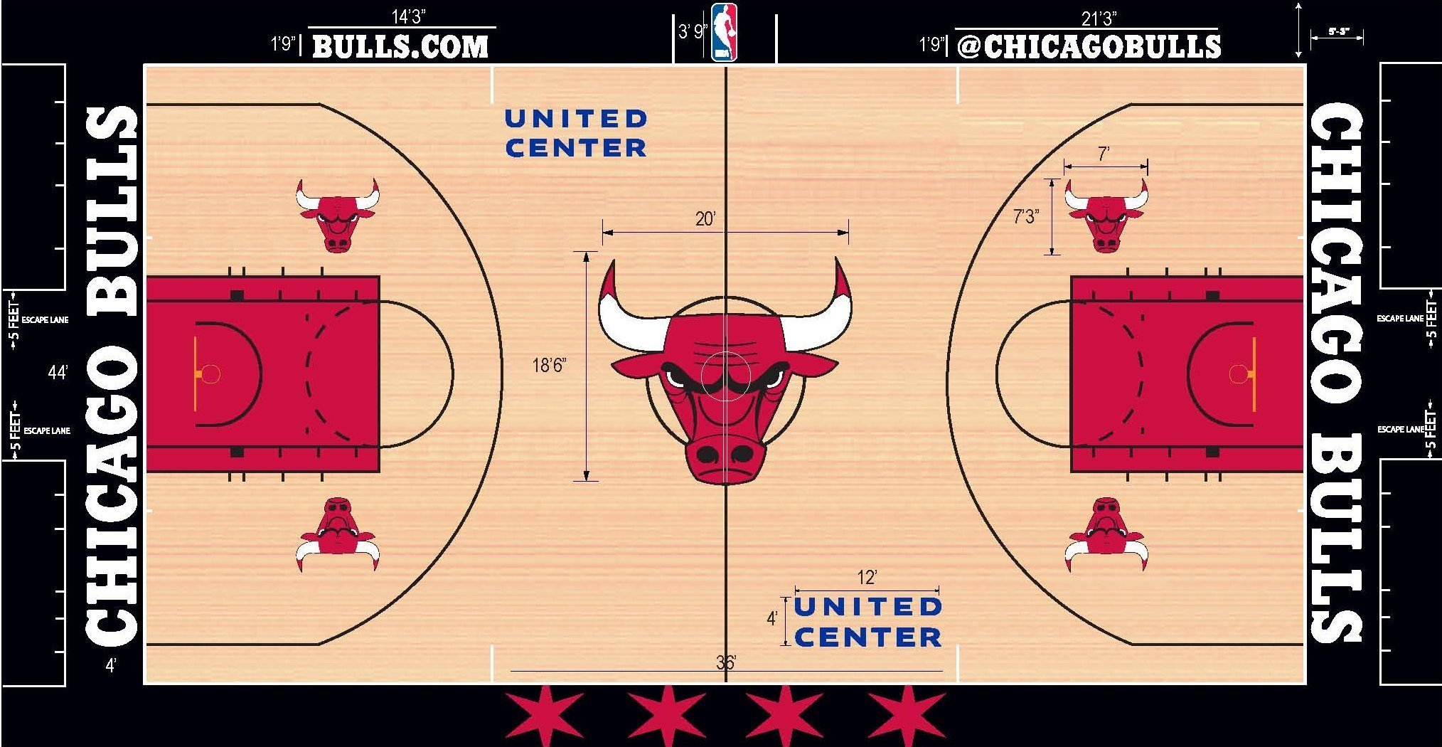 Changes to bulls 39 court design harks back to 39 jordan glory for How much is a basketball court