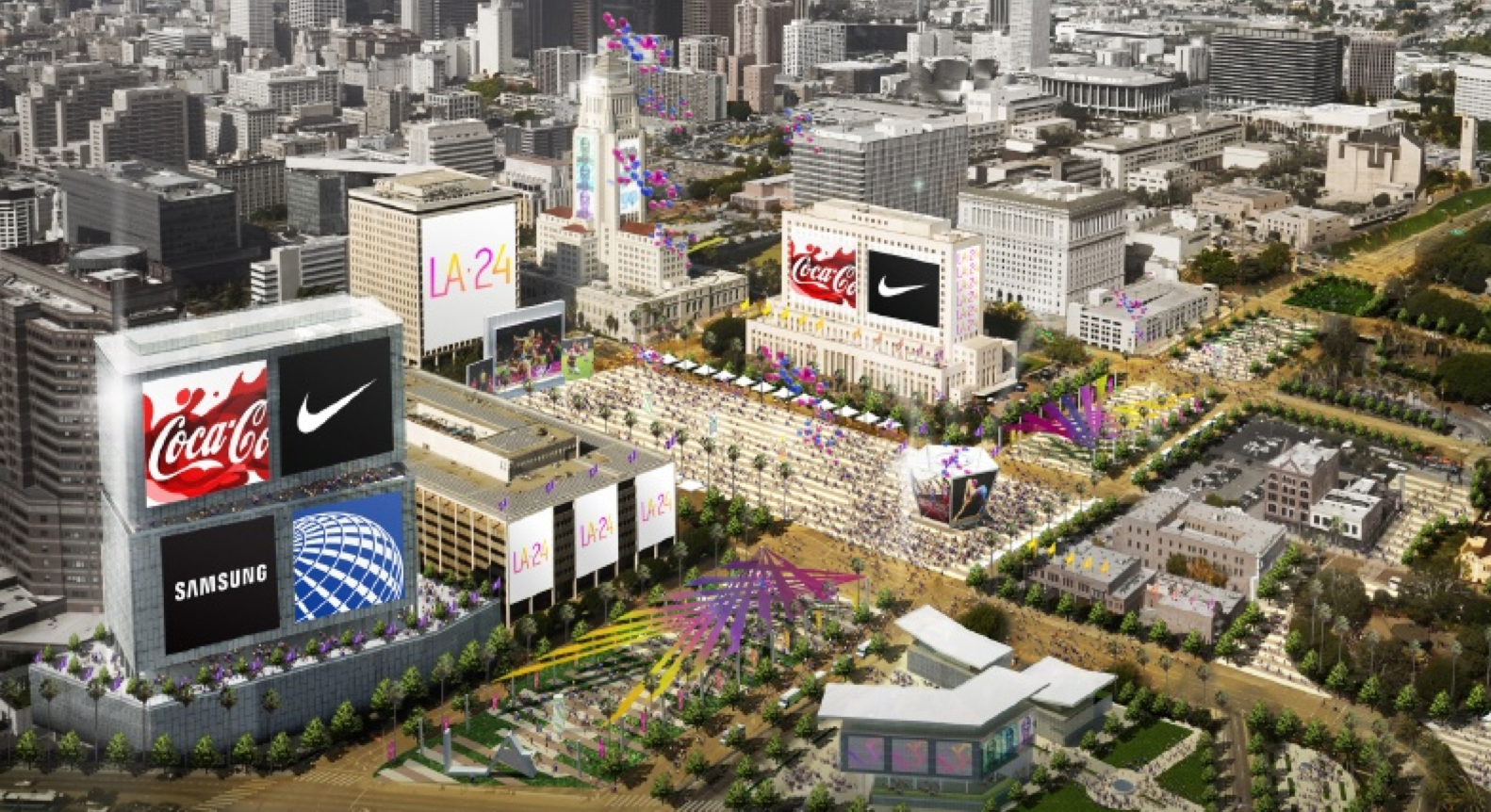An artist's rendering shows downtown Los Angeles during the 2024 Summer Olympics. (LA24)