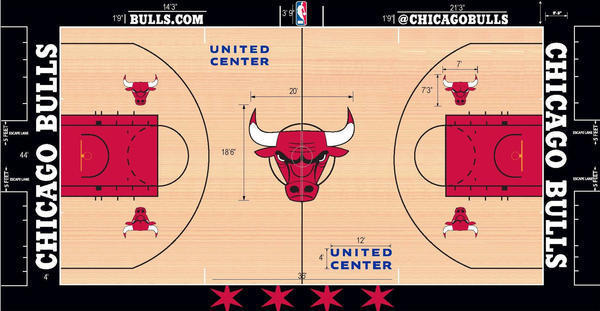 Designer dissects the art of the nba court chicago tribune for Basketball gym designs and layout