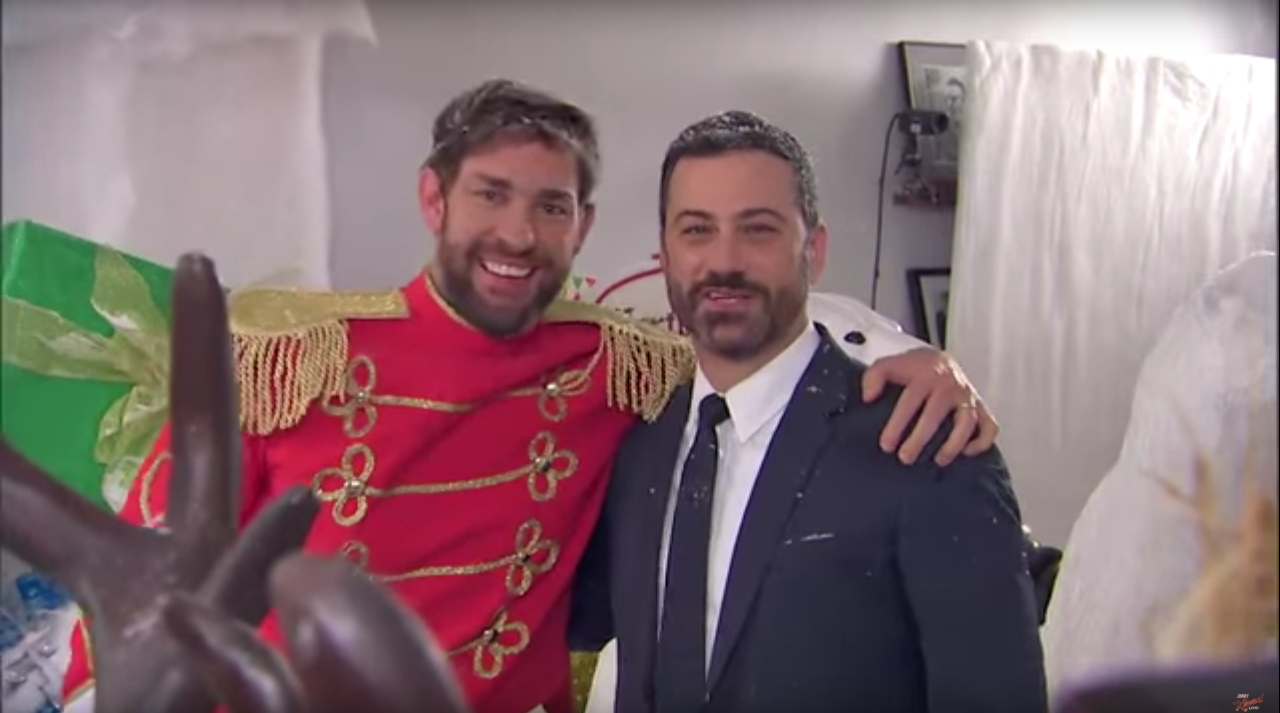 jimmy kimmel oneups john krasinskis holiday prank with a