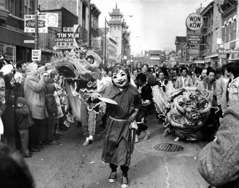 Chinese-Americans celebrate the lunar new year, 4670, in Chinatown on Feb. 20, 1972, at Cermak and Wentworth. According to Chinese calendar, this is the Year of the Rat.