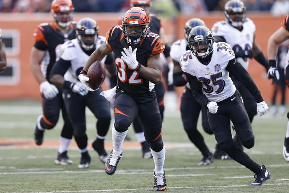 <p>Cincinnati Bengals running back Jeremy Hill (32) runs for a touchdown as Baltimore Ravens defensive back Shareece Wright (35) trails behind.</p>