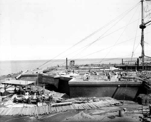 <p>The John G. Shedd Aquarium under construction on Aug. 22, 1928. Construction workers broke ground on Nov. 2, 1927, and the aquarium was completed on Dec. 21, 1929.</p>