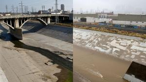 The L.A. River before and after the rain