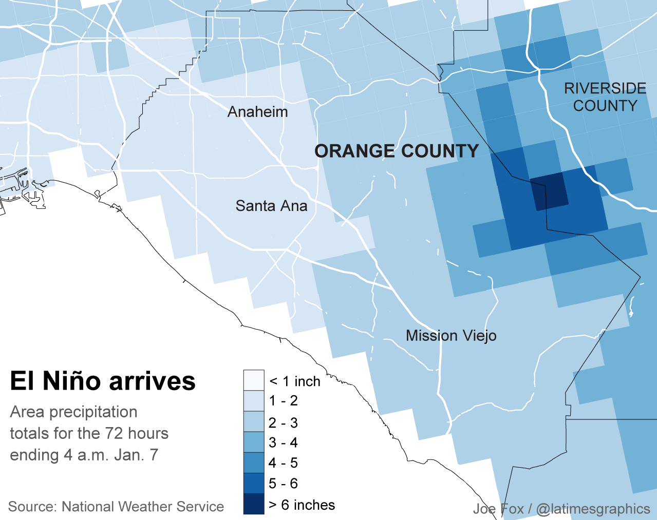 Rainfall in Orange County. (Los Angeles Times)