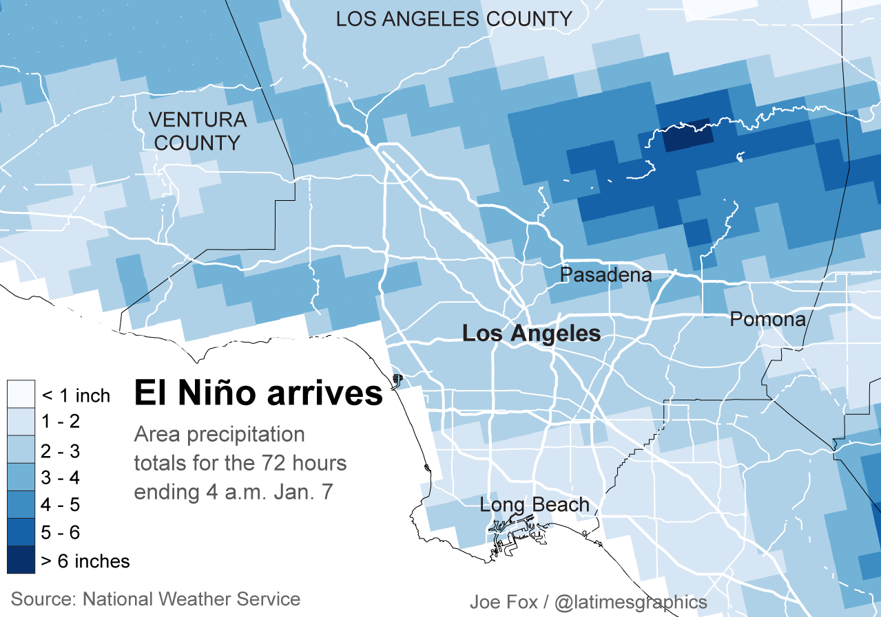 Rainfall in Los Angeles County. (Los Angeles Times)