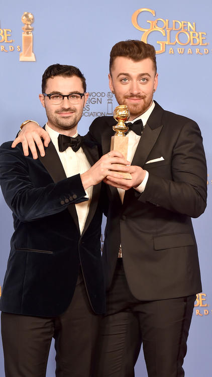 Songwriter Jimmy Napes, left, and singer Sam Smith backstage at the Globes. (Kevin Winter / Getty Images)
