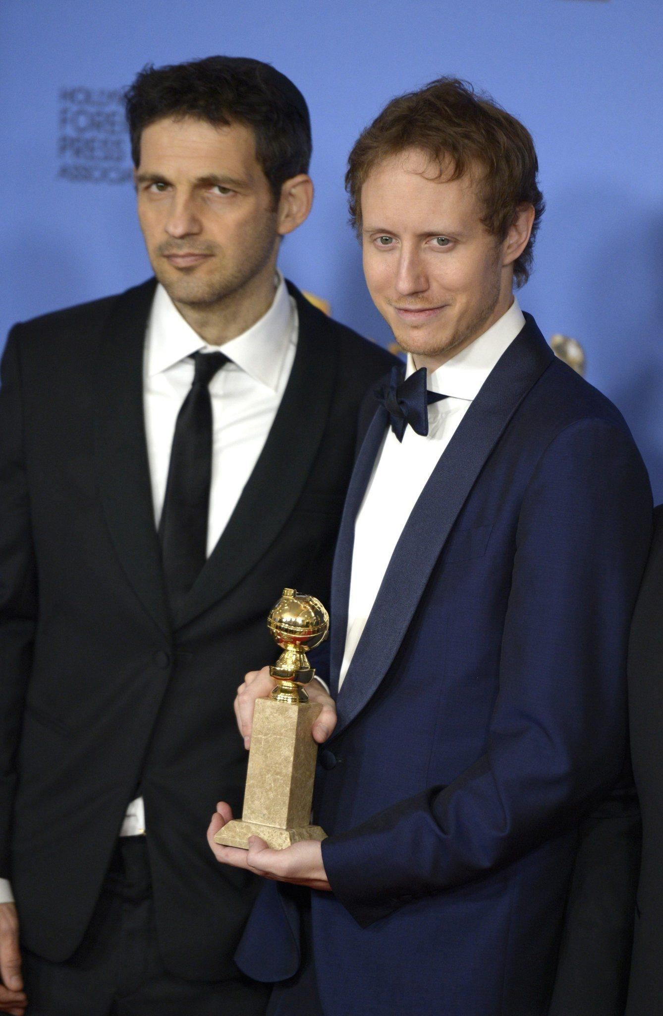 """Son of Saul's"" László Nemes, right, and Géza Röhrig. (Paul Buck / European Pressphoto Agency)"