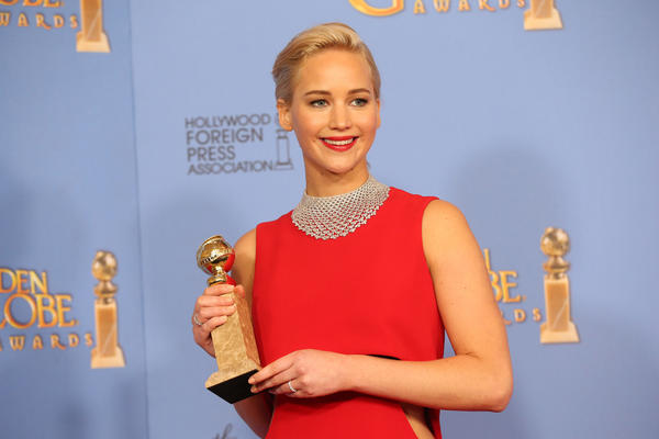 """Joy"" star Jennifer Lawrence, winner of the award for actress in a motion picture - musical or comedy, at the 73rd Golden Globes at the Beverly Hilton Hotel. (Allen J. Schaben / Los Angeles Times)"