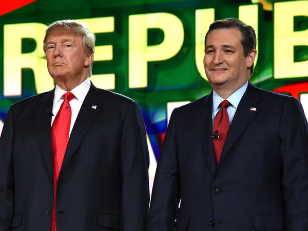 Real estate mogul Donald Trump, left, has called into question whether Sen. Ted Cruz (R-Texas) is eligible to run for president because Cruz was born in Canada. (Ethan Miller / Associated Press)