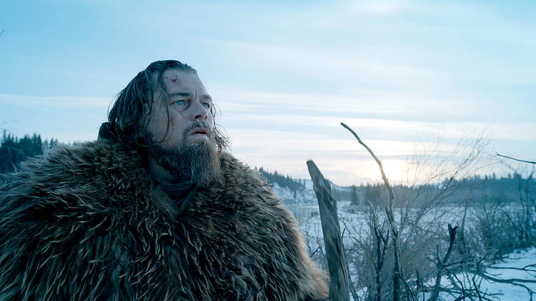 "Leonardo DiCaprio in ""The Revenant,"" which scored 12 Oscar nominations Thursday (Twentieth Century Fox)"