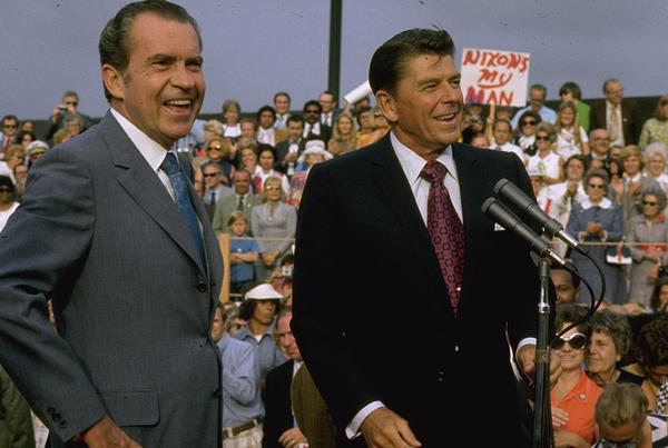 Richard Nixon, left, and Ronald Reagan, (Dirck Halstead / The LIFE Images Collection/Getty)