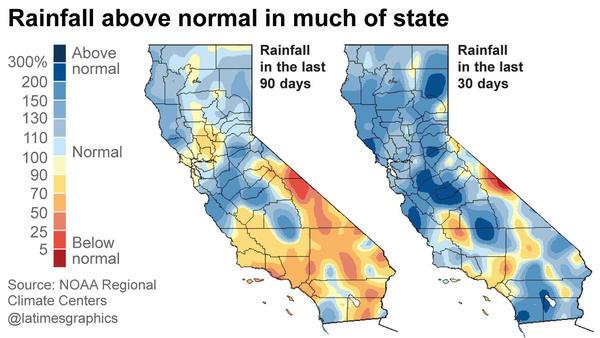 California rainfall anomolies