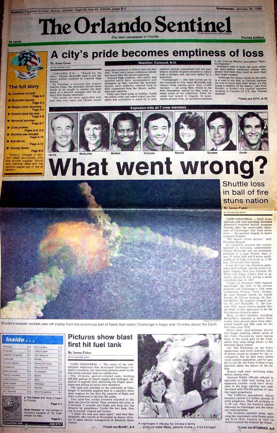 Orlando Sentinel Front Page About The Space Shuttle