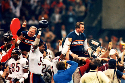 <p>Bears head coach Mike Ditka and defensive coordinator Buddy Ryan are carried around the field after they defeated New England 46-10 to win Super Bowl XX in New Orleans.</p>