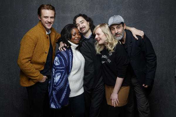 "From left, Boyd Holbrook, Octavia Spencer, writer/director Jason Lew, Elisabeth Moss and Waleed Zuaiter from the film ""The Free World."" (Jay Clendenin / Los Angeles Times)"