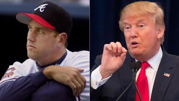 Former Atlanta Braves pitcher John Rocker, left, and Republican presidential front-runner Donald Trump. (John Bazemore, Mary Altaffer / Associated Press)