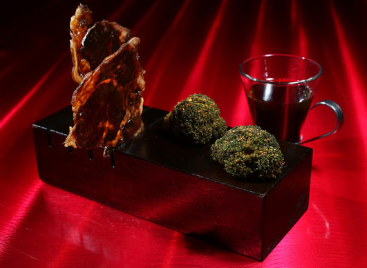 <p>Beef and brocoli in liquid and solid state, at Next, May 16, 2014.</p>