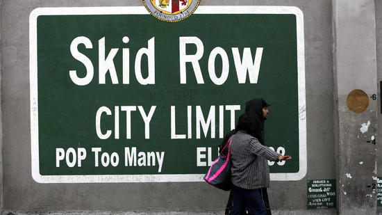 A sign marking skid row on San Julian Street in downtown Los Angeles on Jan. 15. (Los Angeles Times)