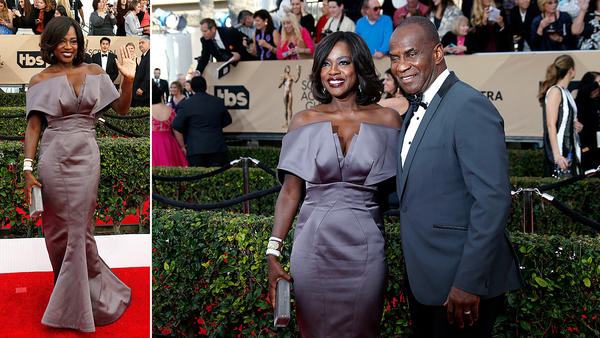 Viola Davis solo, and the best actress in a TV series nominee with Julius Tennon during arrivals at the 22nd Screen Actors Guild awards. (Allen J. Schaben / Los Angeles Times)
