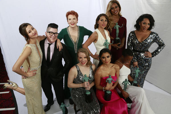 "Winners for Outstanding Performance by an Ensemble in a Comedy Series, cast members of ""Orange Is the New Black"" in the Los Angeles Times photo booth at the 22nd Annual Screen Actors Guild Awards. (Kirk McKoy / Los Angeles Times)"