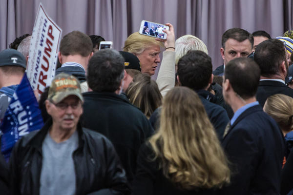 Donald Trump after a campaign rally in Waterloo. (Getty Images)