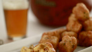Beer-battered mac-and-cheese bites