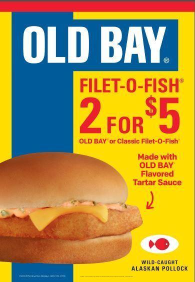 Mcdonald 39 s brings back old bay filet o fish sandwich for Mcdonalds fish sandwich nutrition
