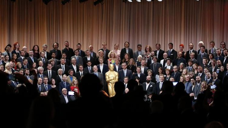The nominees of the 88th Academy Awards gather for a class photo at the Beverly Hilton Hotel. (Al Seib / Los Angeles Times)