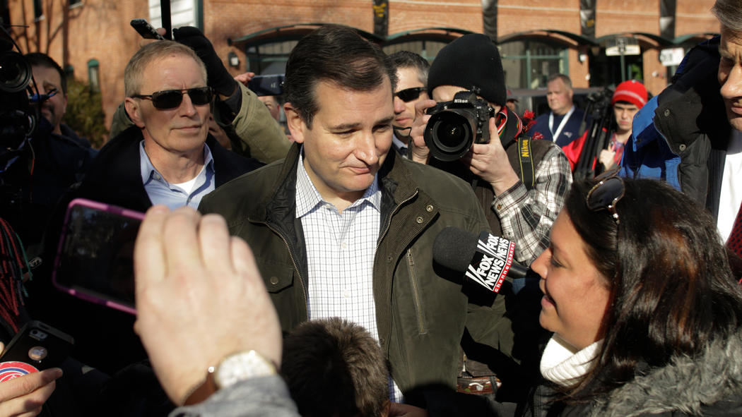 Republican presidential candidate Ted Cruz leaves a campaign stop last week. (Matthew Cavanaugh / Getty Images)