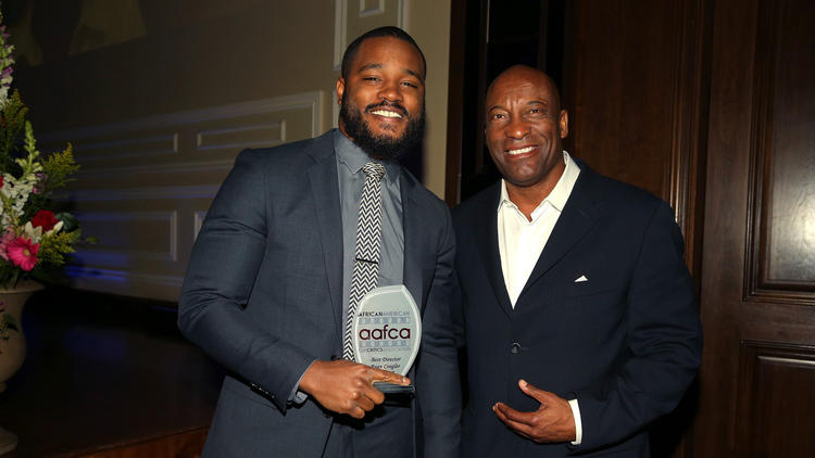 Honorees and directors Ryan Coogler, left, and John Singleton attend the seventh annual AAFCA Awards