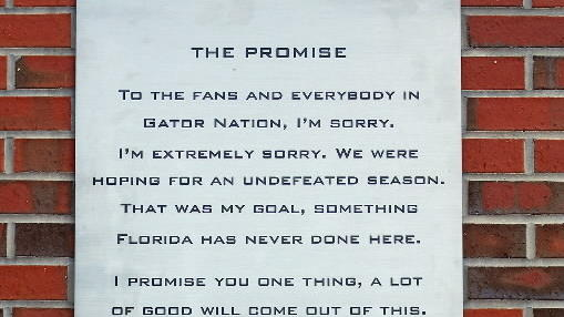 "Tim Tebow ""Promise Speech"" is commemorated on a wall at Ben Hill Griffin Stadium"