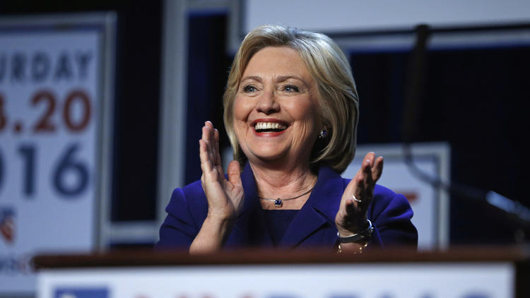 Democratic presidential candidate Hillary Clinton applauds while speaking in Las Vegas during a campaign visit on Jan. 6. The state is the next major contest for the Democratic campaign. (John Locher / Associated Press)