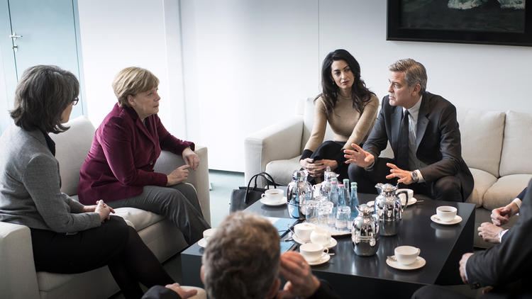 Chancellor Angela Merkel Meets George Clooney and Amal Clooney