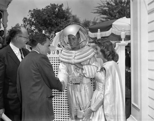 "Vice President Richard Nixon greets ""space people"" during a tour of Disneyland in June 1959."