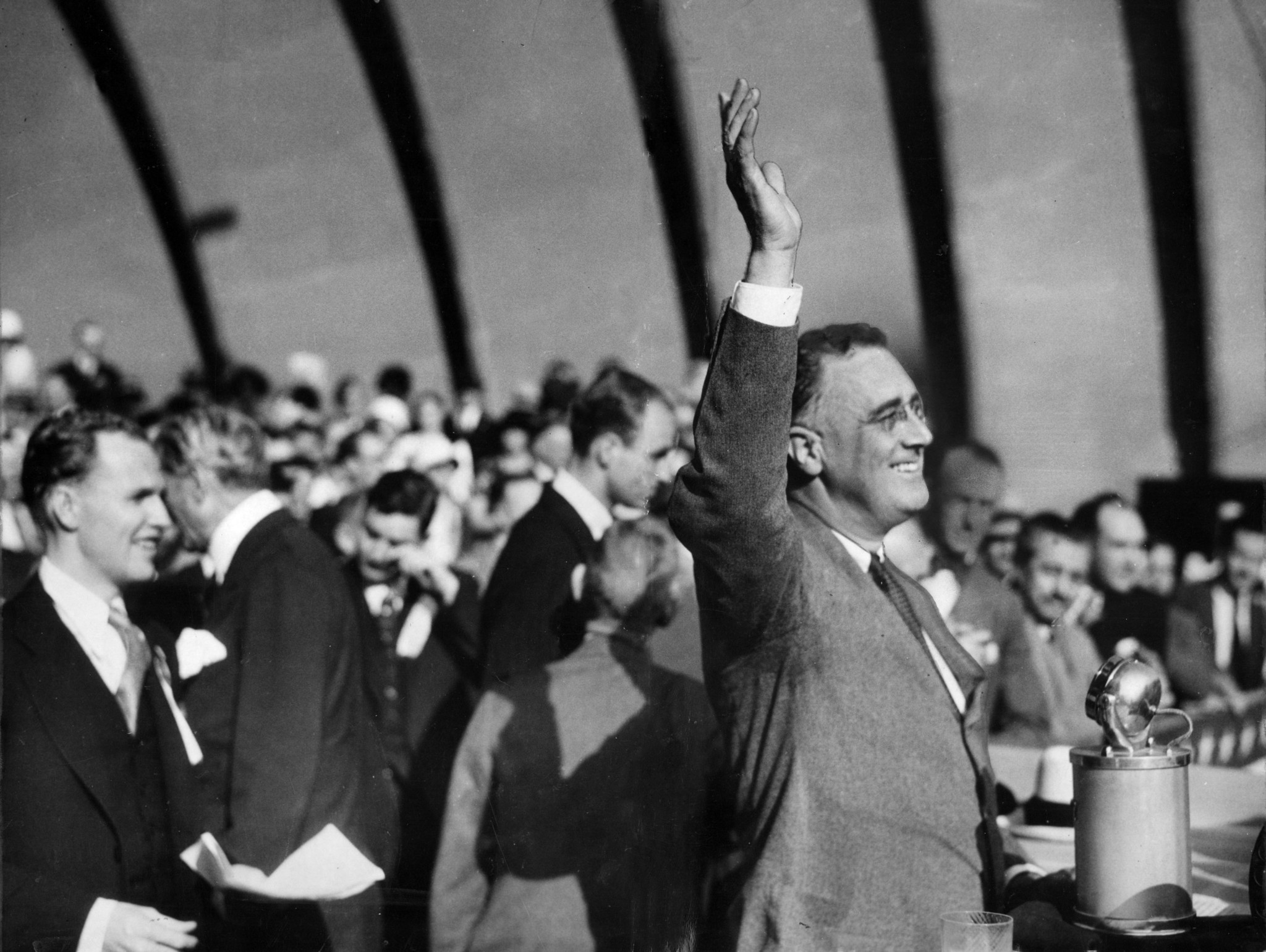 New York Gov. Franklin D. Roosevelt waves to the crowd at the Hollywood Bowl during his presidential campaign in 1932.