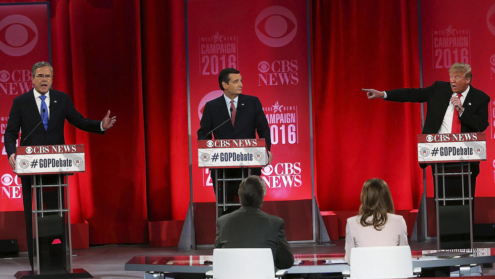 Presidential candidates Jeb Bush, Ted Cruz and Donald Trump make their points at the GOP debate in Greenville, S.C. (Spencer Platt / Getty Images)