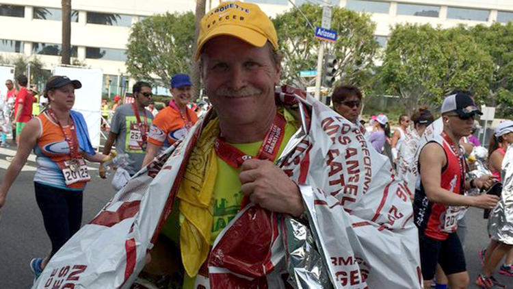L.A. Times columnist Chris Erskine after finishing the L.A. Marathon. (Jessica Erskine)