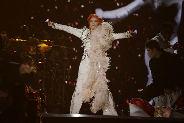 Lady Gaga performs her David Bowie tribute at the 58th Grammy Awards at Staples Center. (Robert Gauthier / Los Angeles Times)