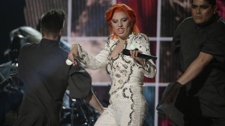 Lady Gaga performs her David Bowie tribute onstage at the 58th Grammy Awards. (Robert Gauthier / Los Angeles Times)