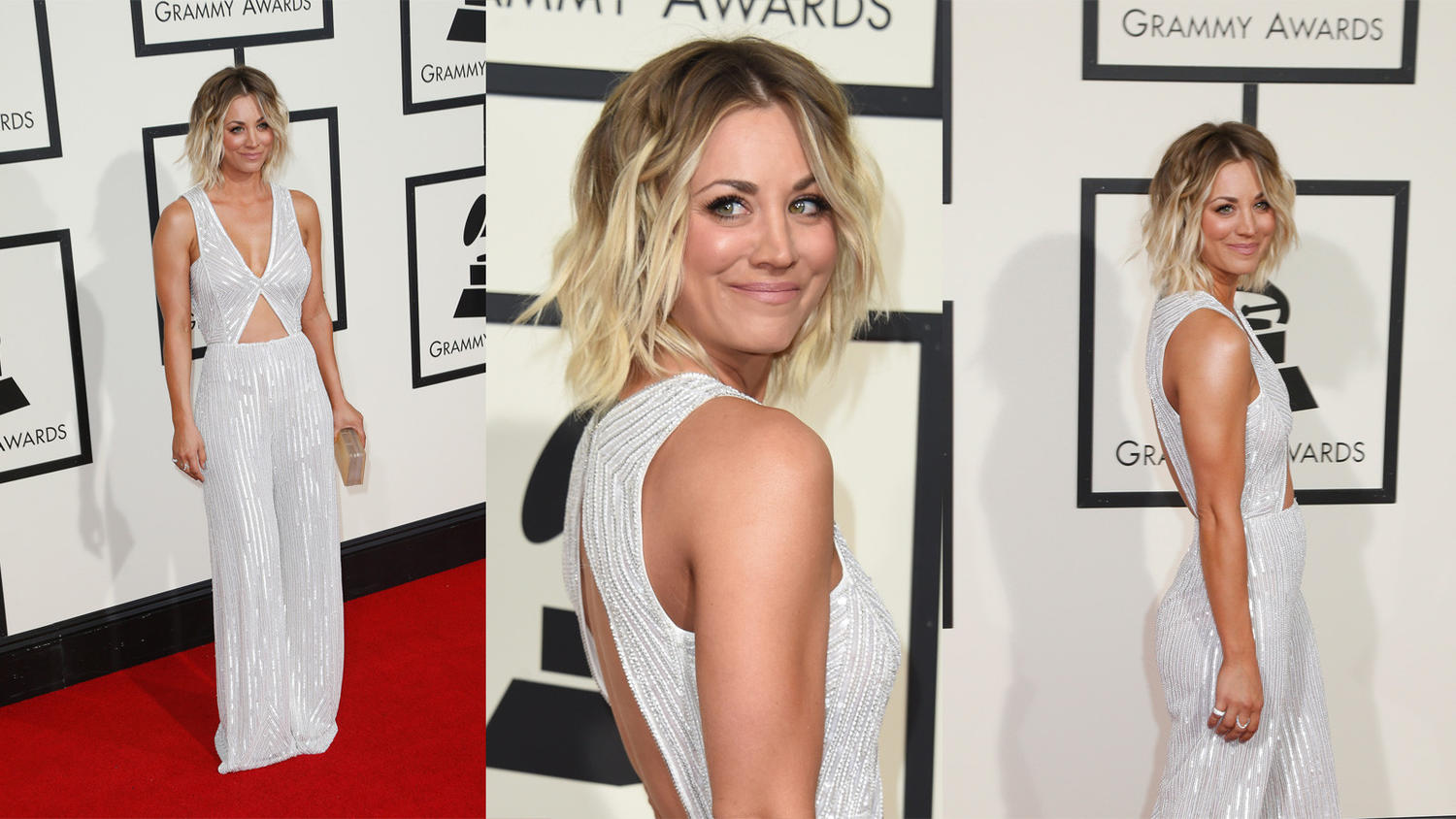 Kaley Cuoco in a sequined pantsuit. (Kirk McKoy / Los Angeles Times (left and right), Valerie Macon / AFP/Getty Images (center)