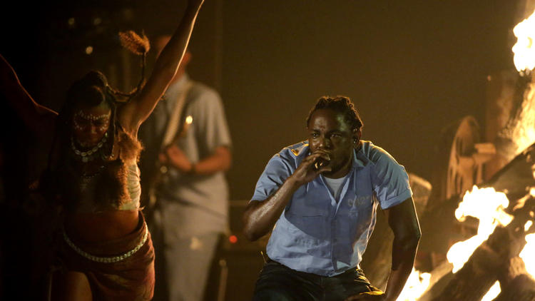 Kendrick Lamar performs Monday at the 58th Grammy Awards at Staples Center. Lamar won five awards, including best rap album. (Robert Gauthier / Los Angeles Times)