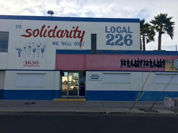Culinary Workers Union headquarters, just off the Las Vegas Strip (Mark Z. Barabak / Los Angeles Times)