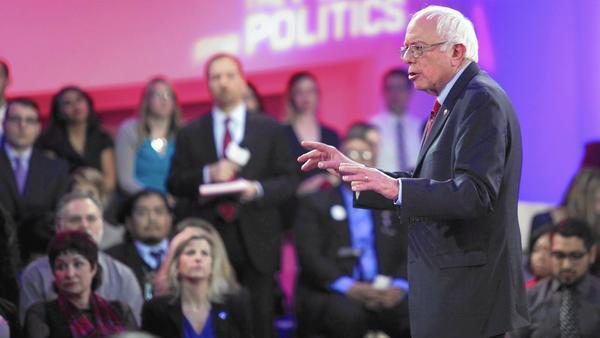 Bernie Sanders speaks a televised town hall meeting in Las Vegas. (John Gurzinski / AFP/Getty Images)