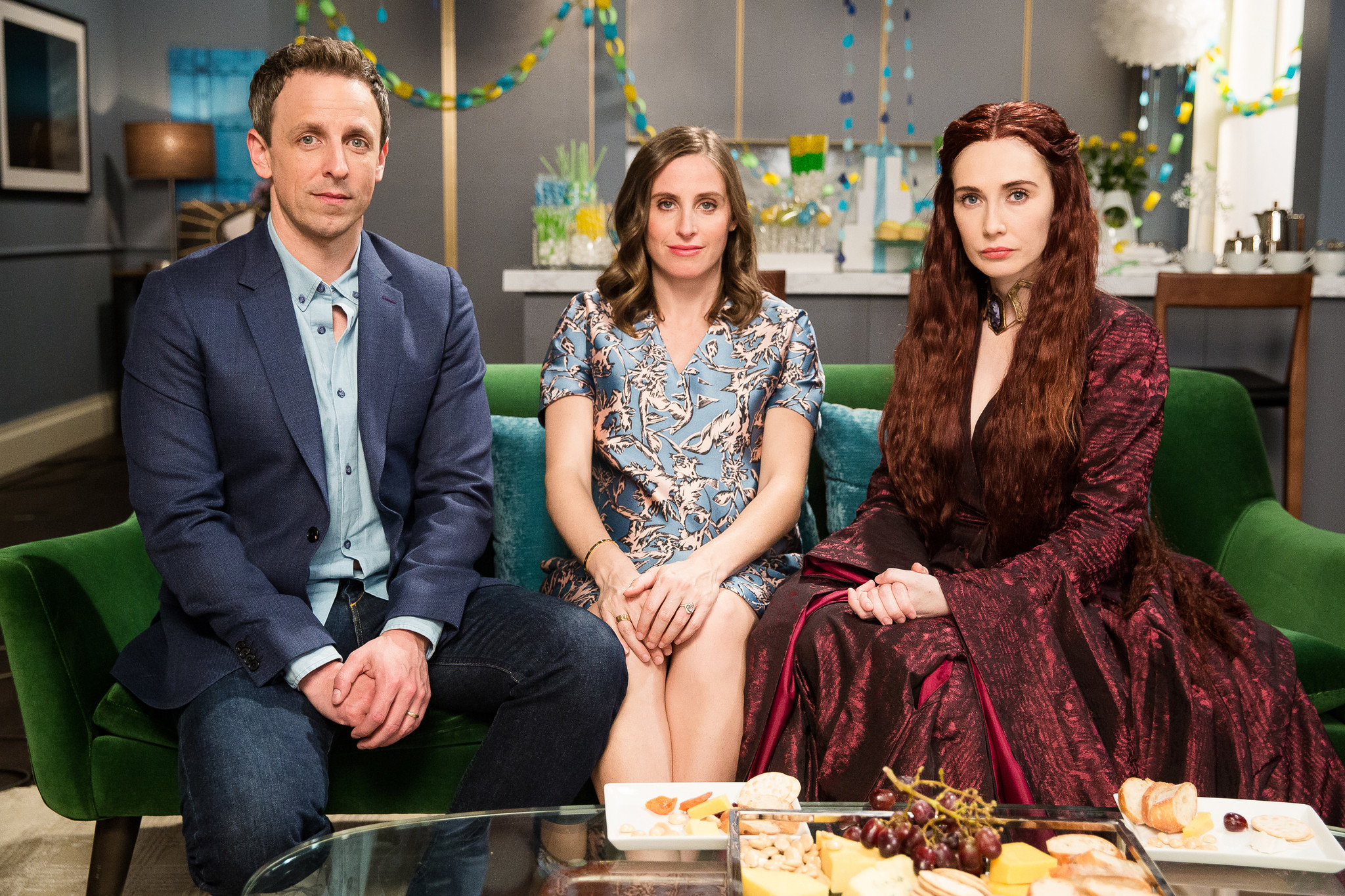 Watch Seth Meyers host the Red Wedding of baby showers with