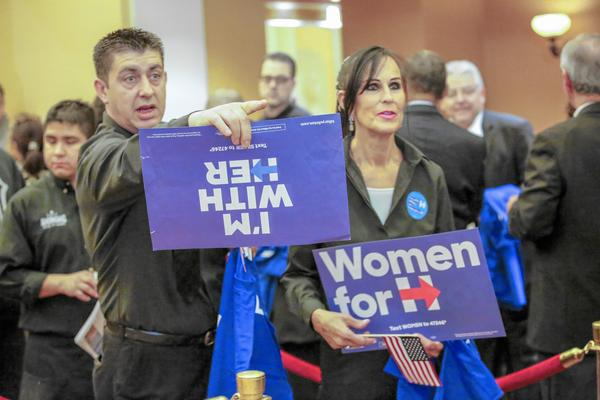 Voters wait to caucus for Hillary Clinton in Las Vegas. (Irfan Khan / Los Angeles Times)