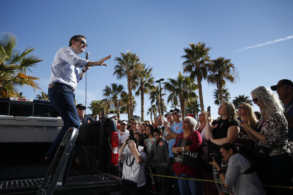 Ted Cruz addresses supporters Sunday in Pahrump, Nev. (John Locher / Associated Press)