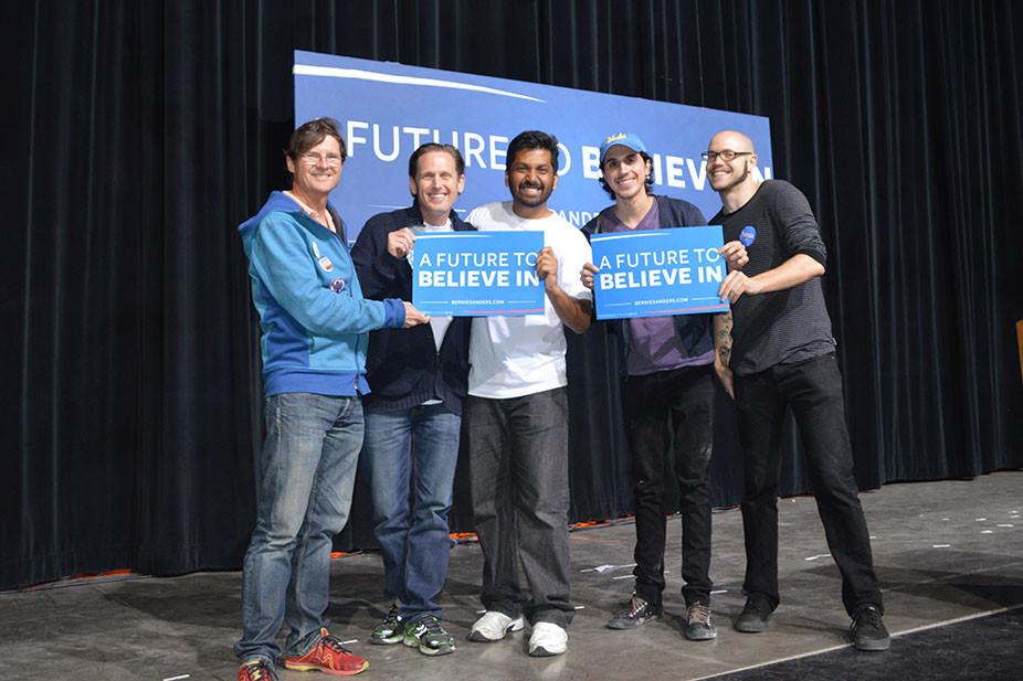 Left to right, Bernie Sanders fans Todd Jones, Keith Anthony Sikora, Rohan Jain, Ferny Callejas and Casey Black (Rohan Jain)